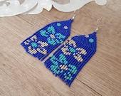 Fringe Floral Beaded Blue Earrings, Long Big Bold Tassel Dangling, Seed Bead Boho Chic Jewelry, Huichol Flower Earrings, Mother's Day Gift