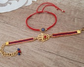 Hamsa Charm Bracelet, Evil Eye Macrame Jewelry, Adjustable Bracelet Set, Boho Ethnic Bracelet, Gypsy Festival Accessory, Birthday Gift Her
