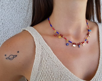 Evil Eye Necklace, Lucky Jewelry, Beaded Choker, Minimal Statement Necklace, 14K Gold Charm Necklace, Coral Lapis Jewelry, Birthday Gift Her