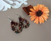Boho Hoop Earrings, Leather Jewelry, Earthy Dangle, Double Teardrop Earrings, Beaded Gypsy Earrings, Colourful Jewelry, Rustic Hippie Dangle