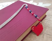 Heart Bookmark, Birthday Gift Her, Beaded Book Accessory, Book Lover Gift, Reading Accessory, Bookish Gift, Coral Lapis Metal Bookmark Hook