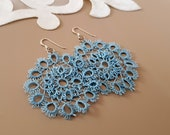Lace Earrings, Tatting Jewelry, Big Round Earrings, Large Cotton Earrings, Lightweight Dangle, Boho Birthday Gift Her, Blue Bridesmaid Gift