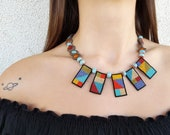 Beaded Geometric Necklace, Boho Jewelry, Artisan Necklace, Statement Choker, Rainbow Necklace, Colorful Bead Jewelry, Short Choker, Gift Her