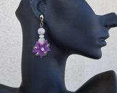 Stud Dangle Earrings, Lace Flower Earrings, Gemstone Stud Dangle, Moonstone Jewelry, Floral Boho Earrings, Turkish Oya Lace, Gift for Her