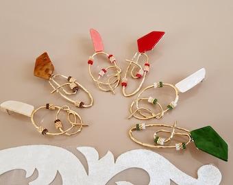 Oversized Mismatched Acrylic Earrings, Asymmetric Stud Dangle Earrings, Seed Beaded Statement Large Jewelry, Gold Plated Big Metal Earrings