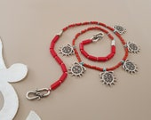 Red Coral Necklace, Hittite Symbol Necklace, Ethnic Tribal Jewelry, Boho Necklace, Natural Gemstone Jewelry, Silver Necklace, Gift For Her