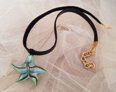 Starfish Necklace, Murano Glass Pendant, Leather Neck Jewelry, Ocean Beach Pendant, Black Choker, Iridescent Boho Necklace, Gift For Her