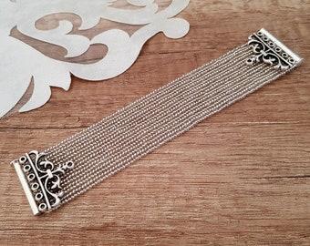 Beaded Cuff Bracelet, Sparkly Silver Victorian Jewelry, Prom Accessories, Herringbone Bracelet, Magnetic Clasp Bracelet, Birthday Gift Her