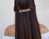 Leopard Hair Clip, Beaded Barrette, Animal Print Hair Accessory, Beadwork Hair Jewelry, Rectangular Hair Clip, Long French Clip, Gift Her