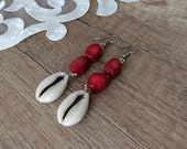 Dangle Coral Earrings, Ocean Jewelry, Beach Earrings, African Dangle, Cowrie Shell Earrings, Boho Sea Dangle, Birthday Gift Her, Women Gift