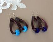 Leather Loop Earrings, Bohemian Jewelry, Oversized Hoop Earrings, Teardrop Dangle, Glass Earrings, Lightweight Burgundy Dangle, Gift For Her