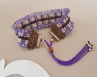 Boho Chic Statement Bracelet, Soft Purple Czech Crystal Wide Cuff, Brilliant Glass Beaded Jewelry, Adjustable Bead Woven Bracelet, Gift Her