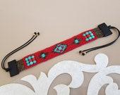 Native American Style Beaded Bracelet, Boho Hippie Ethnic Bracelet, Seed Bead Woven, Leather Bead Aztec Jewelry, Birthday Gift Girlfriend