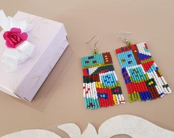 Abstract Art Earrings, Modern Asymmetric Earrings, Mismatched Tassel Earrings, Boho Fringe Oversized Jewelry, Multicolor Statement Dangling