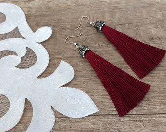Dangle Tassel Earrings, Silk Tassel, Long Dangle, Thread Earrings, Festival Jewelry, Luxury Earrings, Boho Women Gift, Claret Red Dangle