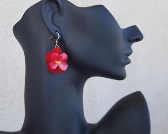 Crochet Drop Earrings, Flower Power Earrings, Crochet Jewelry, Cotton Boho Dangling, Bridesmaid Gift, Red Blossom Earrings, Birthday Gift