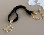 Star Necklace, Celestial Jewelry, Gold Star Pendant, Black Velvet Choker, Bohemian Necklace, Gothic Necklace, Birthday Gift, Gift For Sister