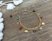 Ankle Body Bracelet, Lucky Jewelry, Charms Anklet, Foot Bracelet, Evil Eye Chain Anklet, Boho Beach Jewelry, Minimalist Gold Birthday Gift