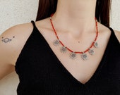 Red Coral Necklace, Gypsy Necklace, Ethnic Jewelry, Tribal Boho Necklace, Natural Gemstone Jewelry, Silver Coral Necklace, Birthday Gift Her
