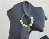 Modern Pearls Hoop Earrings, Green Aventurine Jewelry, Hoop Gold Earrings, June Birthstone, Freshwater Pearl Earrings, Anniversary Gift Her