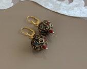Boho Ball Earrings, Tribal Jewelry, Dangle Leverback, Gypsy Earrings, Ethnic Tibetan Jewelry, Ornate Earrings, Oriental Dangle, Unique Gift