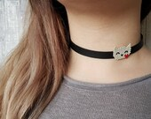 Cat Necklace, Collar Choker, Pet Jewelry, Cat Owner Gift, Animal Necklace For Women, Cat Lover Gift, Black Leather Choker, Birthday Gift Her