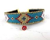 Tribal Ethnic Bracelet, Native American Jewelry, Hippie Bracelet, Evil Eye Jewelry, Boho Chic Cuff, Beaded Gypsy Jewelry, Birthday Gift Her
