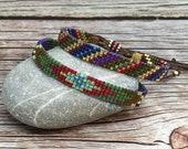 Beaded Hand Woven Stacking Bracelet, Colorful Gypsy Jewelry, Bohemian Adjustable Bracelet, Hippie Tribal Bracelet, Ethnic Narrow Cuff, Gift