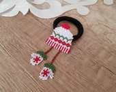 Christmas Hair Accessory Little Girls, Beaded Elastic Hair Ties, Xmas Ponytail Holder, Miniature Noel Gift Little Girls, Cute Hair Jewelry