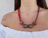 Coral Boho Necklace, Ethnic Lapis Necklace, Tibetan Gypsy Jewelry, Statement Gemstone Necklace, Tribal Nepal Pendant, Birthday Gift For Her