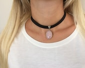 Gemstone Choker Necklace, Rose Quartz Jewelry, Sterling Silver Pendant, Black Leather Choker, Oval Stone Necklace, Gift For Mom, Gift Her