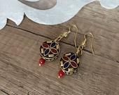 Tibetan Lapis Coral Earrings, Ethnic Gypsy Dangling, Nepal Jewelry, Dangle Tribal Earrings, Bohemian Round Drop Earrings, Birthday Gift Her