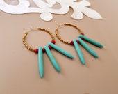 Beaded Hoop Earrings, Turquoise Bohemian Jewelry, Circle Brass Earrings, Spike Earrings, Gemstone Boho Dangle, December Birthstone, Gift Her