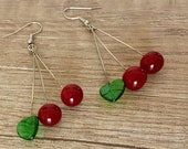 Cherry Earrings, Fruit Earrings, Retro Jewelry, Lampwork Dangle Earrings, Glass Handcrafted, Food Dangle, Summer Trends, Gift For Foodie