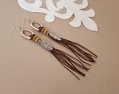 Southwestern Earrings, Native American Jewelry, Boho Fringe Dangle, Hippie Earrings, Silver Feather Earrings, Long Tassel Dangle, Gift Her