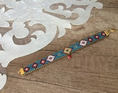 Tribal Bracelet, Festival Jewelry, Boho Cuff, Hippie Bracelet, Evil Eye Jewelry, Gypsy Bracelet, Ethnic Birthday Gift, Anniversary Gift Her
