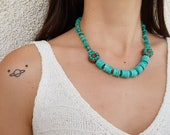 Navajo Turquoise Necklace, Southwestern Jewelry Set, Tribal Boho Necklace, Gypsy Gemstone Earrings, Mothers Day Gift, Birthday Gift For Her