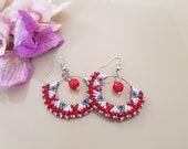 Beaded Hoop Earrings, Coral Boho Jewelry, Fan Earrings, Hippie Gypsy Festival Earrings, Bridesmaid Dangle, Delicate Jewelry, Gift for Her