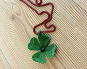 Four Leaf Clover Pendant, Lucky Jewelry, St Patrick's Day Gift, Long Necklace, Good Luck Gift, Irish Shamrock Green Necklace, Gift For Her