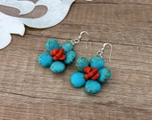 Turquoise Coral Earrings, Daisy Earrings, Gemstone Jewelry, Flower Earrings, Raw Stone Dangle, Boho Floral Jewelry, Birthday Gift For Her