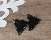 Triangle Stud Earrings, Beaded Geometric Jewelry, Black Silver Earrings, Screw Back Everyday Earrings, Casual Jewelry, Birthday Gift For Her