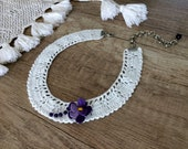 Crochet Bib Necklace, Textile Jewelry, White Collar Necklace, Violet Necklace, Vintage Style Crochet, Wearable Art, Women Gift, Boho Gift