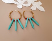 Beaded Hoop Earrings, Turquoise Bohemian Jewelry, Circle Brass Earrings, Spike Earrings, Gemstone Boho Dangle, December Birthstone, Gift Her