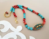 Antique Style Coral Turquoise Ethnic Necklace, Traditional Tibetan Statement Pendant, Tribal Boho Gypsy Jewelry, Birthday Gift Girlfriend