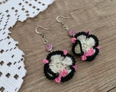 Flower Crochet Earrings, Evil Eye Jewelry, Floral Earrings, Cotton Drop Dangling, Christmas Textile Jewelry, Boho Earring, Birthday Gift Her