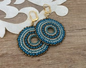 Beaded Circle Earrings, Boho Blue Jewelry, Hoop Dangle, Seed Bead Round Earrings, Large Disc Earrings, Birthday Gift Sister, Gift For Her
