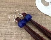 Leather Fringe Earrings, Beaded Tassel Earrings, Boho Leather Jewelry, Long Dangle, Western Earring, Birthday Gift Her, Best Friend Gift Her