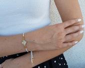 Lucky Clover Bracelet, Elegant Adjustable Bracelet, Shiny Charm Jewelry, Brilliant Accessory, Minimalist Gold Jewelry, Birthday Gift For Her