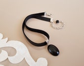 Black Choker Necklace, Onyx Oval Pendant, Leather Choker, Gemstone Jewelry, Anniversary Gift Her, Genuine Leather Necklace, Birthday Gift