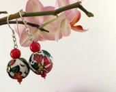 Ceramic Dangle Earrings, Boho Drop Dangle, Bohemian Jewelry, Floral Earrings, Sterling Silver Jewelry, Statement Ball Earrings, Women Gift